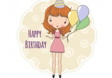Free vector Birthday card with a hand drawn girl #9274