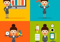 Free vector Businesswoman and business icons #11250