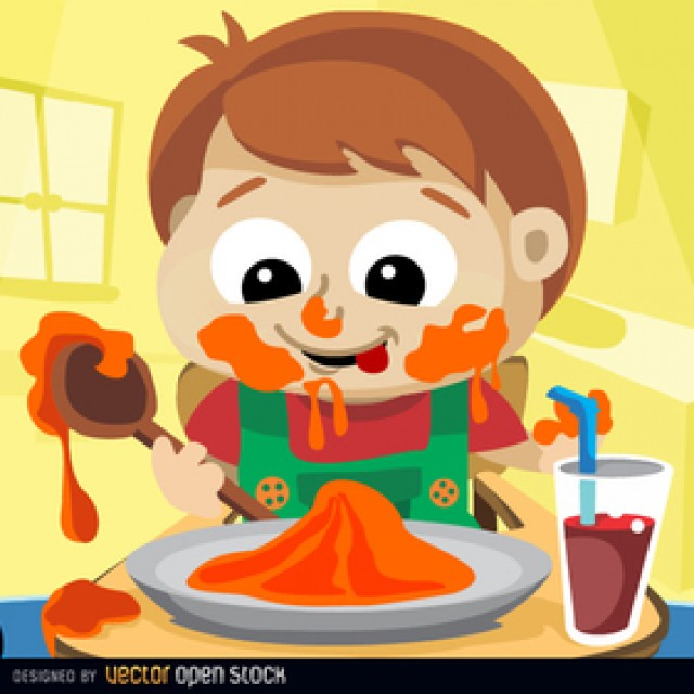 Free vector Child messy eating #5146