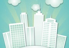 Free vector City buildings made of paper #6098