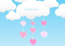 Free vector Cloud with hanging hearts #4532