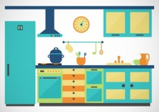 Free vector Colored kitchen #5062