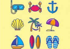 Free vector Colored summer icons #5344