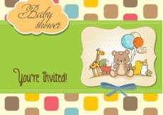 Free vector Colorful baby shower card with rounded square #4339