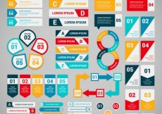 Free vector Colorful  banners for infographic #8147