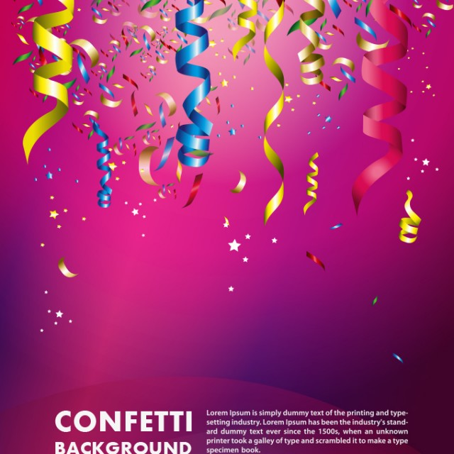 Free vector Colorful Confetti Vector Background For Birthday Celebration #5420