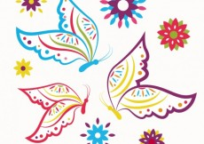 Free vector Colorful sketchy butterflies #9948