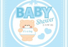 Free vector Cute baby shower card #4519