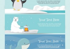 Free vector Cute banners with animals #10508