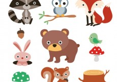 Free vector Cute forest animals #9334