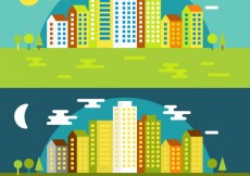Free vector Day and night cityscape in flat design #7027