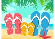 Free vector Family sandals on the sand #11248