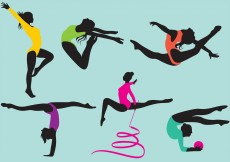 Free vector Female Gymnast Silhouette Vectors #11942