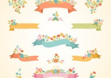 Free vector Floral ribbon banners #10990