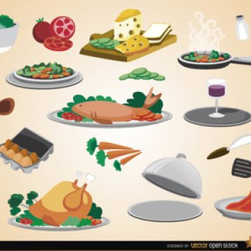 Free vector Food, drinks, ingredients and kitchen utensils #5124