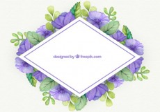 Free vector Frame with watercolor flowers #8051