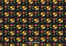 Free vector Free Cute Bee Vector Seamless Pattern #10891