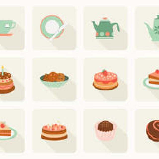 Free vector Free Flat Cake And Tea Vector Icons #4756