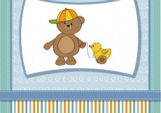 Free vector Funny teddy bear with toy duck baby shower card #4362