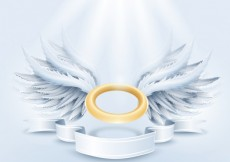 Free vector Golden aureole and white wings #5193