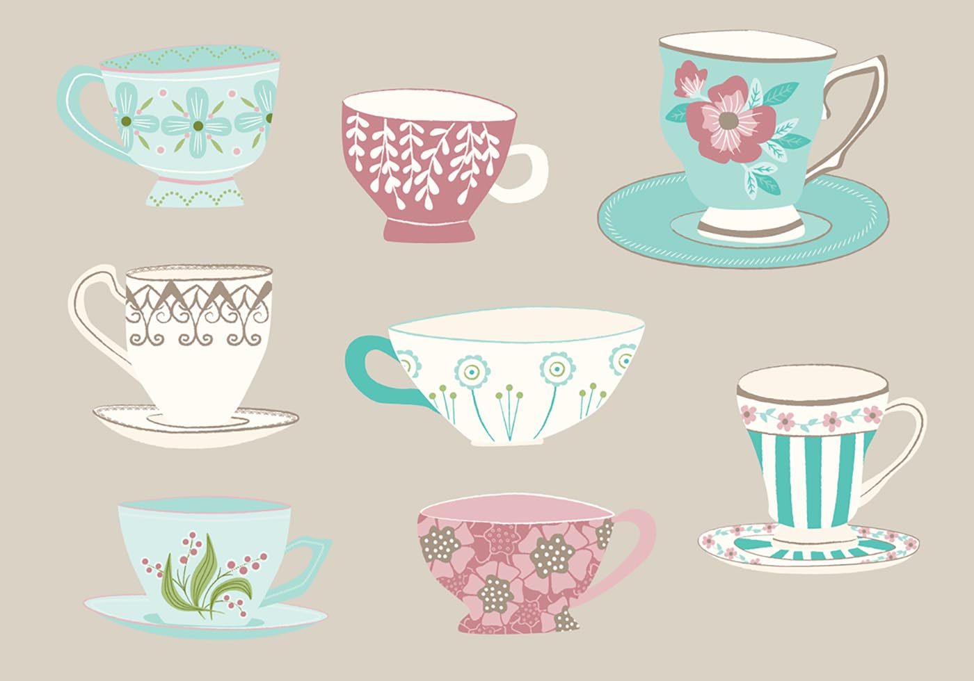 Fancy Coffee Cups Free Vector Hand Drawn Tea Cup Vectors 10981 My Graphic