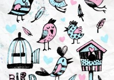 Free vector Hand painted birds and cages #4877