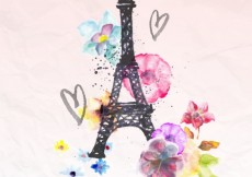 Free vector Hand painted eiffel tower #5972