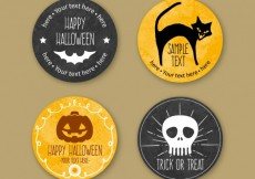 Free vector Hand painted halloween badges #10641
