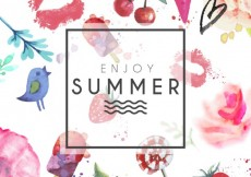 Free vector Hand painted summer card #7552