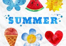 Free vector Hand painted summer elements #6646