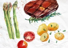 Free vector Hand painted vegetables and a steak #4888