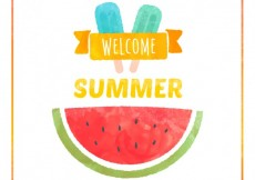 Free vector Hand painted welcome summer card #5956