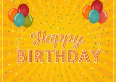 Free vector Happy birthday card with balloons and confetti #7633
