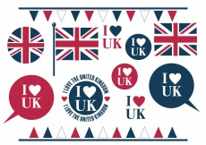 Free vector I Love the UK Assorted Element Set #10875