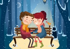 Free vector Illustrated couple under the snow #9919