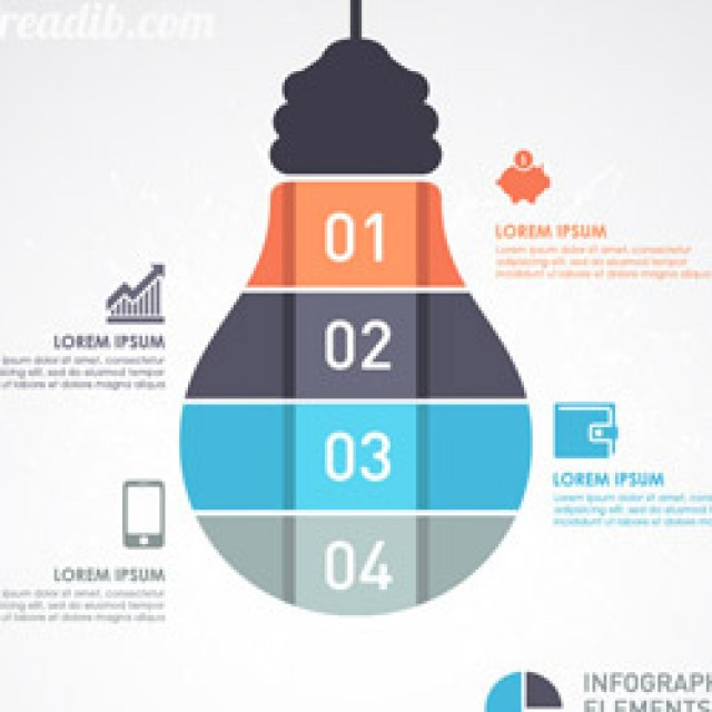 Free vector infographic Template with Light bulb banner #4971