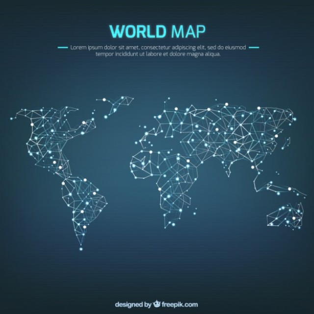 Free vector Networking world map #11064