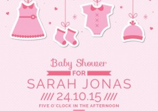 Free vector Pink baby shower card with hanging clothes #6930