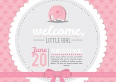 Free vector Pink baby shower card #4462