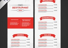 Free vector Restaurant menu in white and red colors #10469