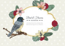 Free vector Retro bird and flowers label #9400