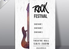 Free vector Rock festival poster with a geometric guitar #10790