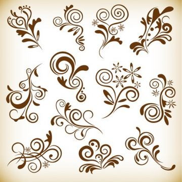 Free vector Set Vintage Floral Elements for Your Design #4500