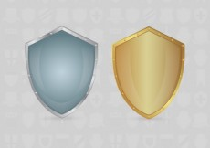 Free vector Silver and gold shields #8386
