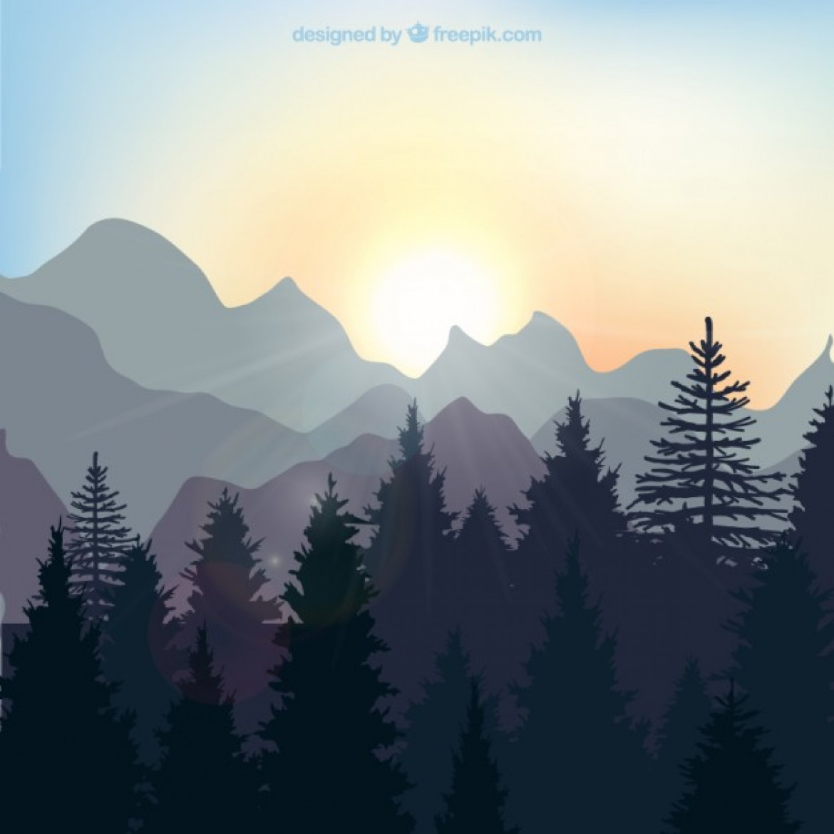 Free Vector Sunrise Landscape In The Forest 6084 My