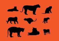 Free vector Tiger Silhouette Vector Pack #10797