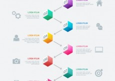 Free vector Timeline infographic with colored cubes #5744