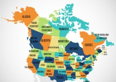 Free vector usa and canada map #7201