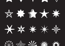 Free vector Variety of white stars #7595