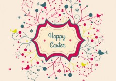 Free vector Vector Easter Card Floral Banner With Abstract Swirly Flowers And Birds #5404